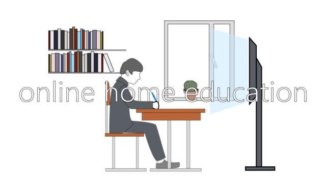 schüler, der vor dem monitor sitzt und hausaufgaben macht. online-home-bildung. video-illustration. - kind isometric stock-videos und b-roll-filmmaterial
