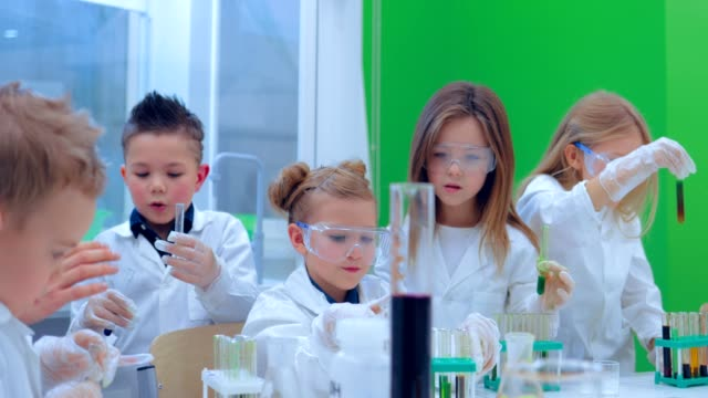 Pupils and teacher watching experiment in science class. Education, children, science and concept video