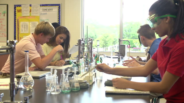 Pupils Carrying Out Experiment In Science Class video