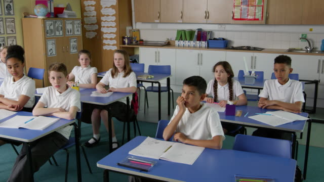 Pupils In Class With Teacher Answering Question Shot On R3D video