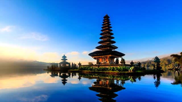 Pura Ulun Danu Bratan, Bali Landmark Travel Place Of Indonesia 4K Time lapse (zoom in) video