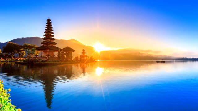 Pura Ulun Danu Bratan Temple On Water, Bali Landmark Travel Place Of Indonesia 4K Night to Day Time lapse (zoom out) video