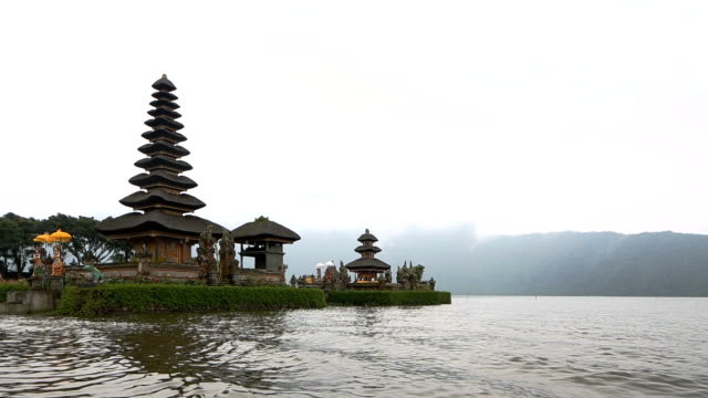 Pura Ulun Danu temple on a quiet foggy morning video
