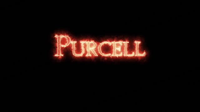 vídeos de stock e filmes b-roll de purcell written with fire. loop - compositor
