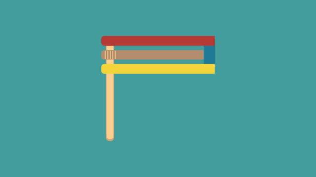 Purim holiday gragger flat design animation icon video