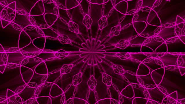 Purple abstract background. Kaleidoscope backdrop. 3d rendering video