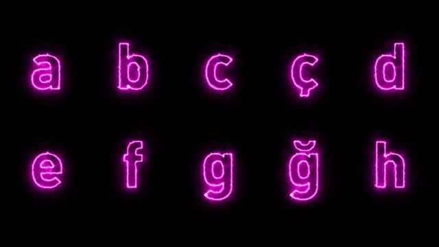 Purple Alphabet Loopable with Luma Matte Fire, Luma Matte, Alphabet,Neon alphabet stock videos & royalty-free footage