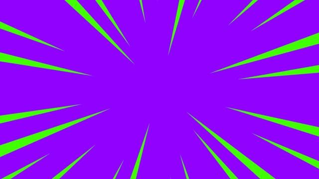 Paarse en groene radiale anime lijnachtergrond. video