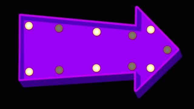 Purple cartoon arrow marquee light board sign on black background