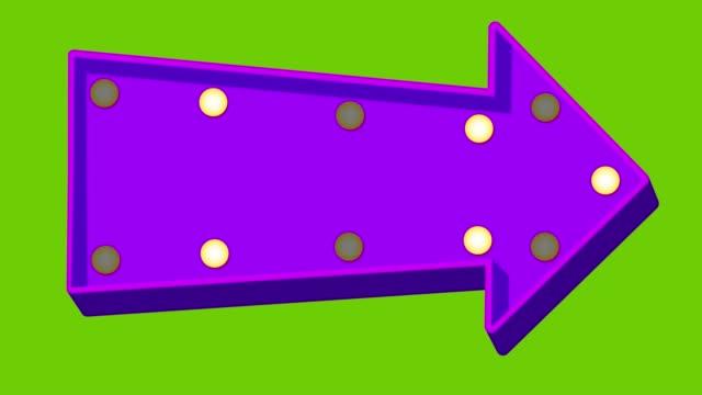 stockvideo's en b-roll-footage met paars cartoon arrow marquee licht bord teken op groen scherm - pijlbord