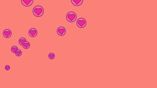 Purple heart icons floating against orange background