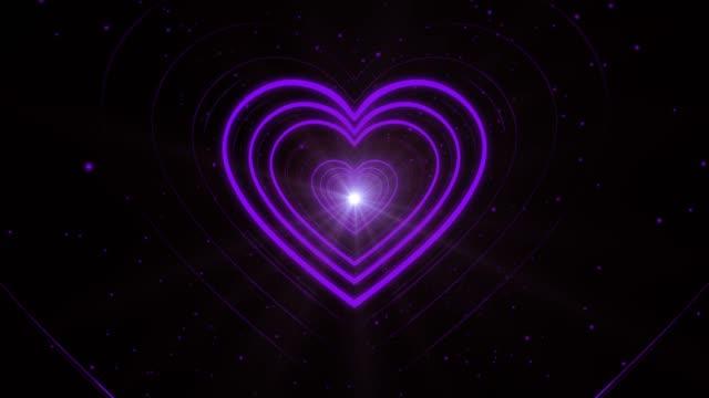 Purple Looping Abstract Heart Shape Corridor