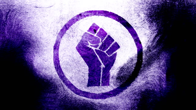 Purple raised fist symbol on a high contrasted grungy and dirty, animated, distressed and smudged 4k video background with swirls and frame by frame motion feel with street style for the concepts of solidarity,support,human rights,worker rights,strength