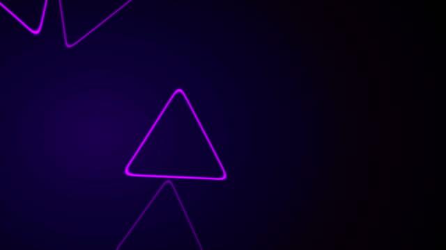 Purple retro neon shiny triangles motion background video