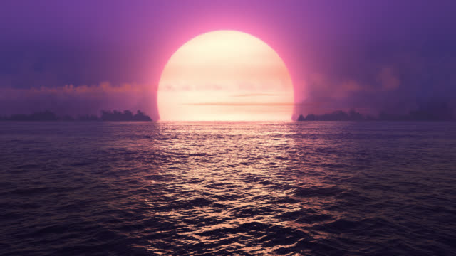 Purple sunset over seamlessly looped ocean.