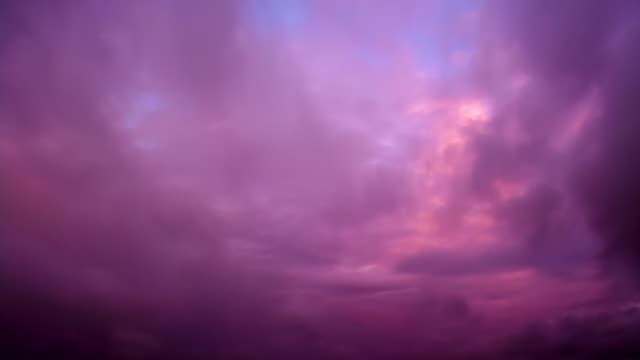 Purple sunset. Time lapse video