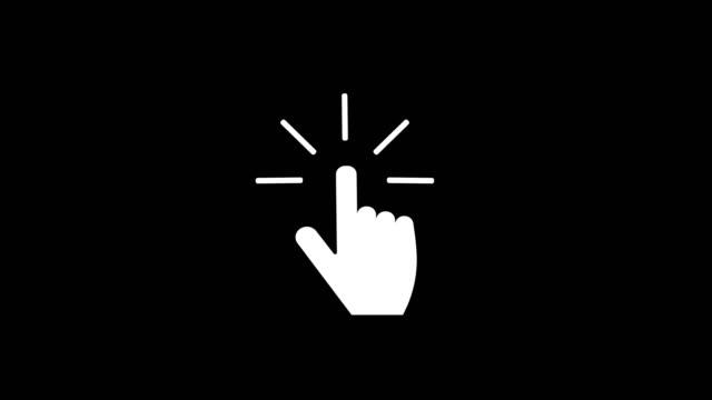vídeos de stock e filmes b-roll de push button. hand icon on white background. cursor of computer mouse. black and white backgrounds. 4k video - empurrar atividade física