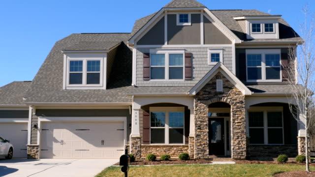 push in establishing shot of a modern generic suburban middle class home - house video stock e b–roll