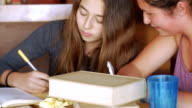 istock Push in of two teenager girls studying together and having a good time 1201729574