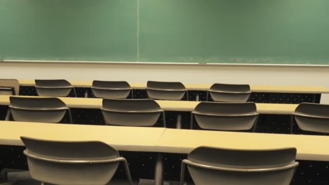 Push in Towards Blackboard over Empty College Desks video