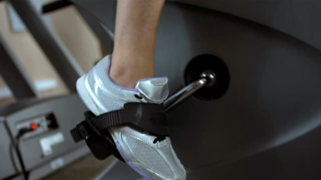 Pushing A Pedal On The Exercise Bike video