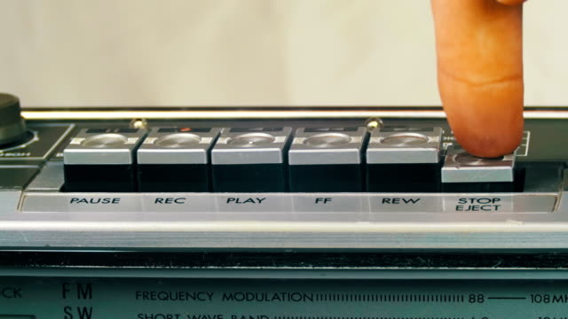 Pushing Play, Stop, Rec, Forward, Rewind Button on a Vintage Tape Recorder video