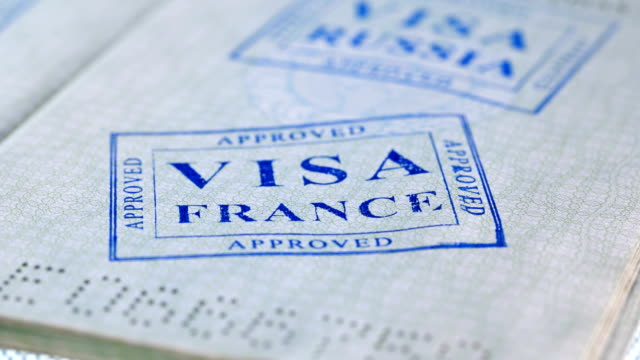 put a stamp in the passport: france visa, approved - passports and visas stock videos and b-roll footage