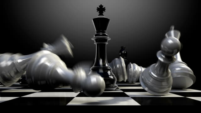 Put the chess piece on a chessboard, ending King, animation. video