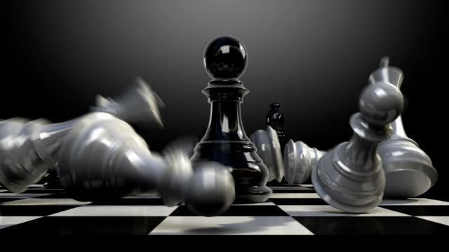 Put the pawn on a chessboard, chess piece fall down. video