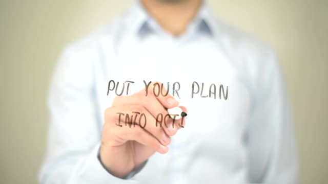 Put Your Plan into Action , Man writing on transparent screen Businessman, freelancer, creative designer, engineer , Man writing on transparent screen goal post stock videos & royalty-free footage