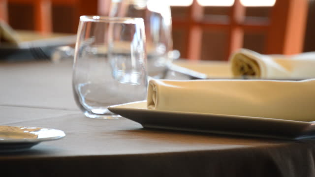 Putting a fork in a restaurant table video