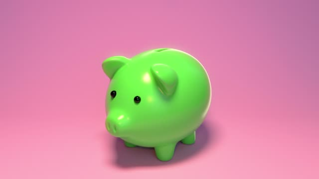 putting coins in piggy banks for financial savings. green piggy bank. blue piggy bank. pink piggy bank. gold coins. purple coins. green coins.  saving for investment.  planning budget. - financial planning stock videos & royalty-free footage