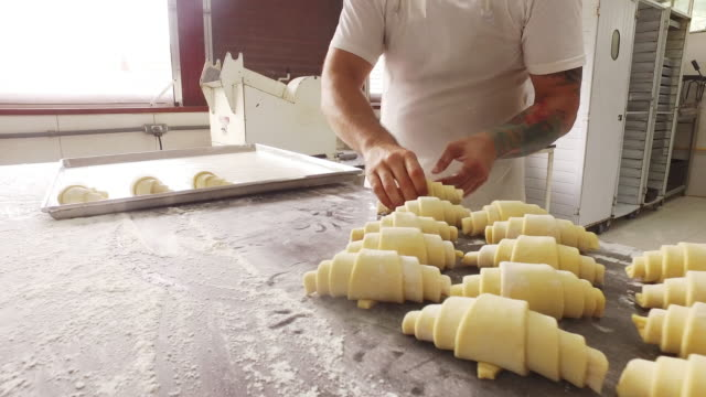 Putting rolled croissants on a baking tray