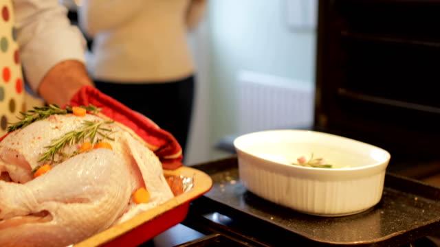 vídeos de stock, filmes e b-roll de colocar o peru no forno - cru