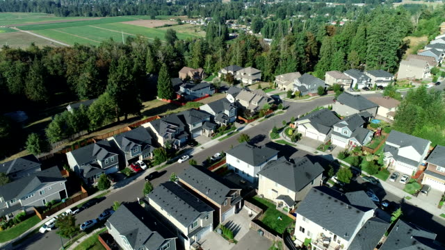 Puyallup road cars forest summer drone Washington Domestic area