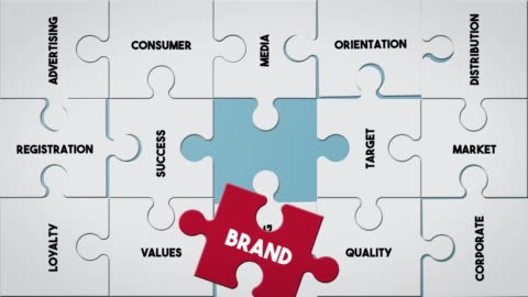 Puzzle piece creating Brand concept Top View Business Word Puzzle Piece Creating Brand concept advertisement stock videos & royalty-free footage