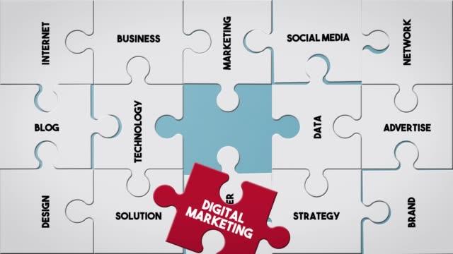 Puzzle piece creating Digital Marketing concept Top View Business Word Puzzle Piece Creating Digital Marketing concept digital marketing stock videos & royalty-free footage