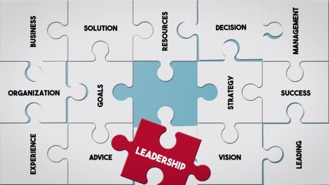 puzzle piece creating leadership concept - rappresentazione umana video stock e b–roll