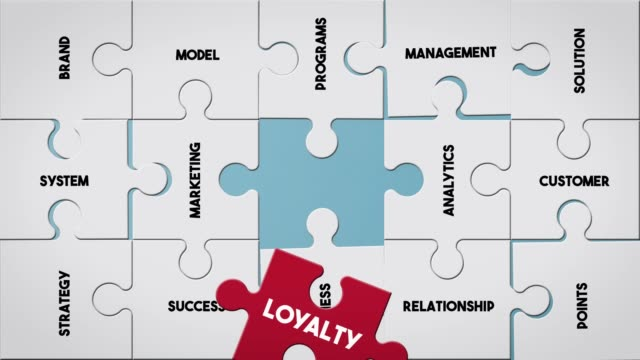 puzzle piece creating loyalty concept - fedeltà video stock e b–roll