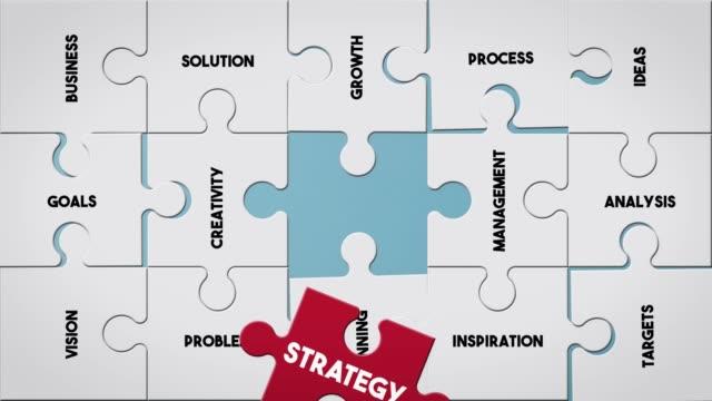 vídeos de stock, filmes e b-roll de peça de quebra-cabeça criando conceito de estratégia - estratégia