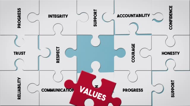puzzle piece creating values concept - trasparente video stock e b–roll