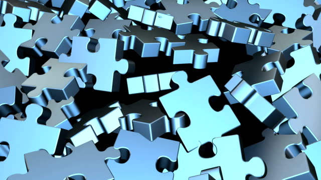 stockvideo's en b-roll-footage met puzzle pieces flying - legpuzzel