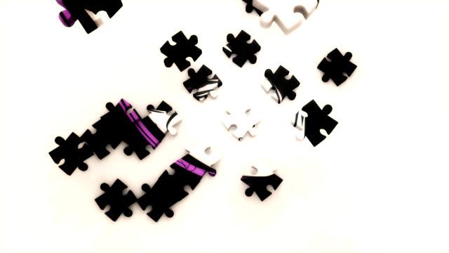 puzzle das gesicht von einem punk-mädchen - menschlicher kopf stock-videos und b-roll-filmmaterial