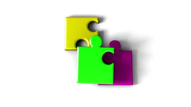 vídeos de stock e filmes b-roll de 3 d'puzzle' - três objetos