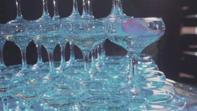 Pyramid of glasses with champagne and falling rode petals video