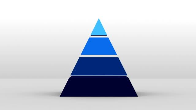 3d pyramid form med fyra lager, vektor infographic(included alpha) - pyramidform bildbanksvideor och videomaterial från bakom kulisserna