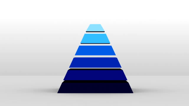 3d pyramid form med sju lager, vektor infographic(included alpha) - pyramidform bildbanksvideor och videomaterial från bakom kulisserna