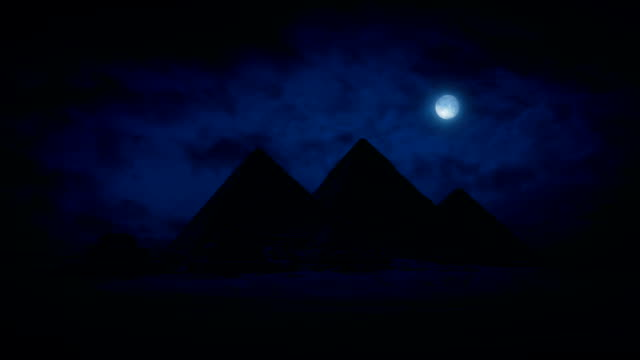 Pyramids At Night With Moon Above video