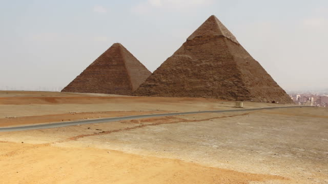 Pyramids on the background of Cairo. Overview from left to video