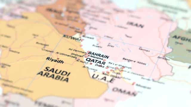 asia qatar, bahrain on world map - opec video stock e b–roll